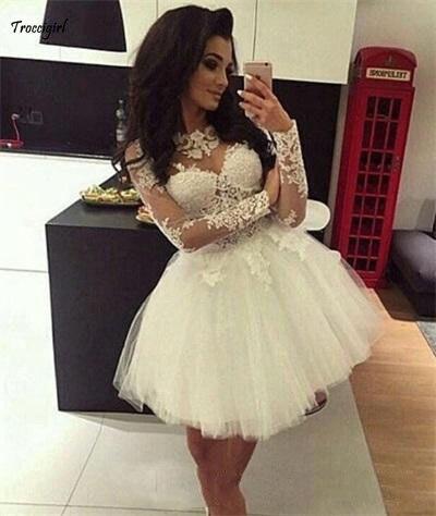 Custom Ball Gown Homecoming   Dresses   Long Sleeves Sheer Neck Sweet   Dresses   Pageant Prom   Dresses   Short Graduation   Dress