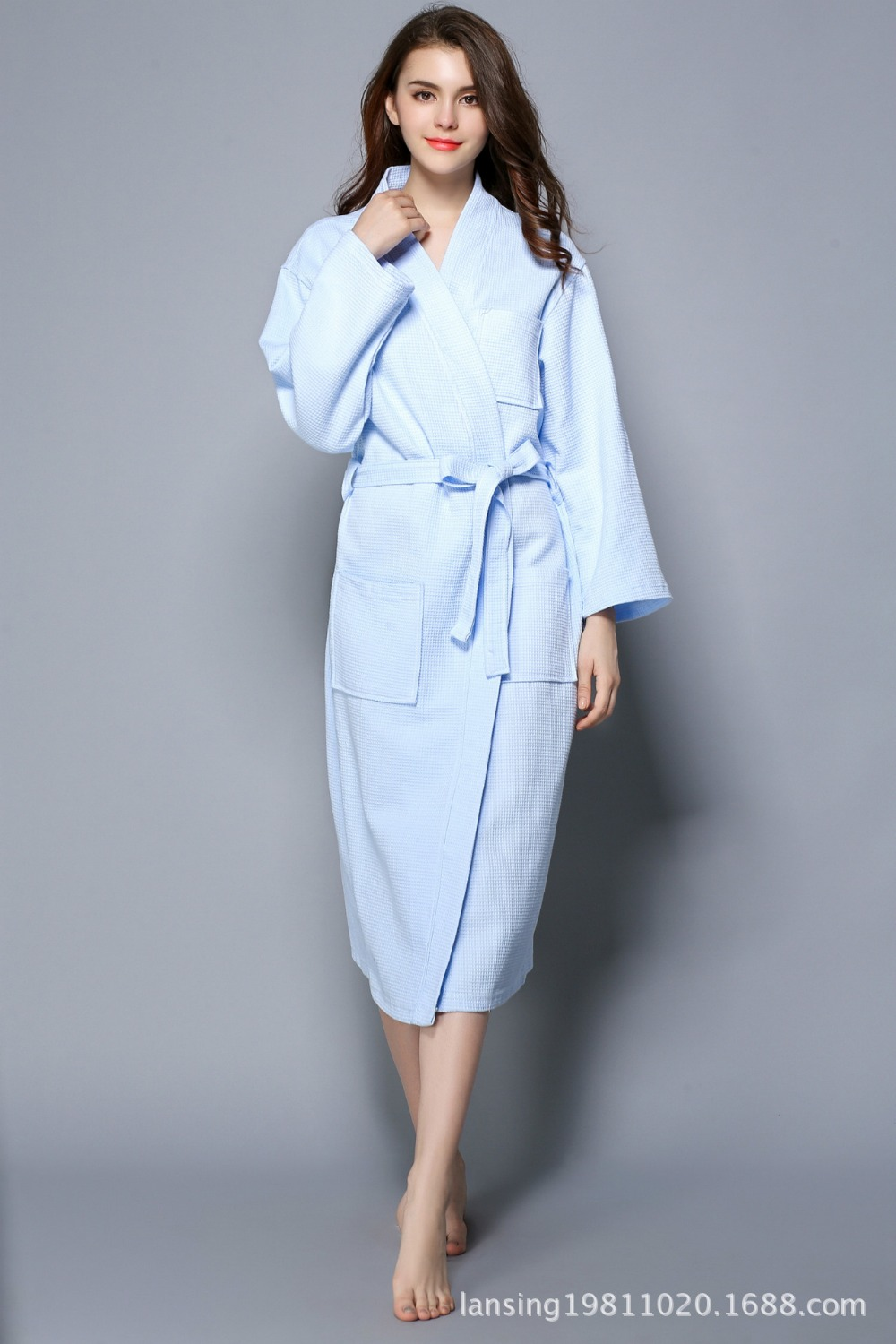 Womens all seasons 100% cotton waffle hotel and home bath robe unisex leisure exrta large size nightwear robe women homewear