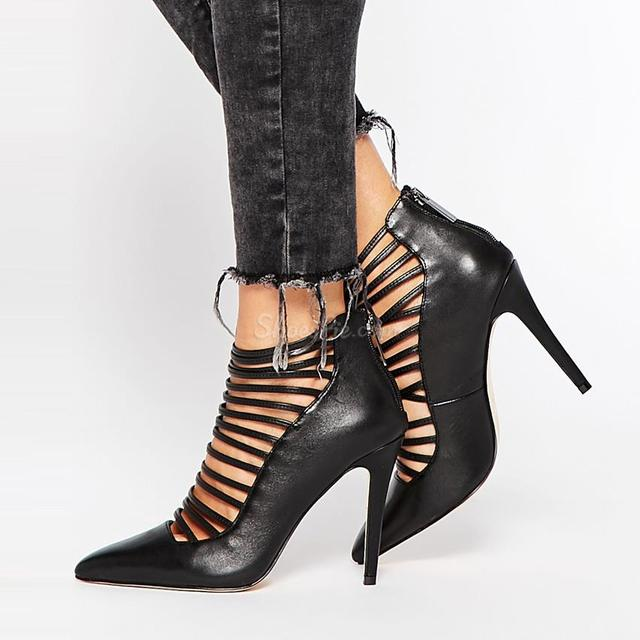 0a92f3e39ab womoen black leather pointed toe thin strappy high heel shoes back zipper  patchwork cage pumps plus size US10