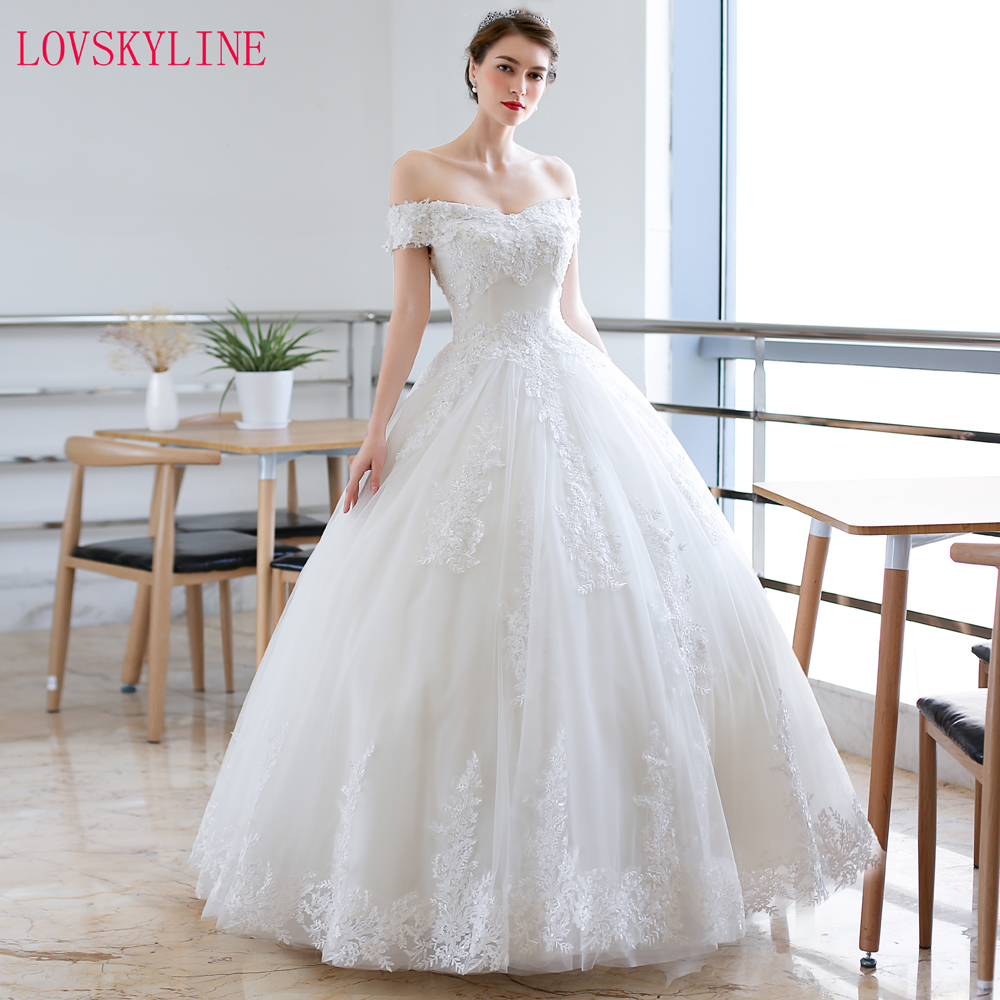 Luxury Full Lace Embroidery Appliques Wedding Dress Cap Sleeves Boat Neck Ball Gown 2018 Wedding Dresses New