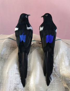 a pair new simulaiton turnd magpie toys polyethylene & furs bird dolls gift about 30cm 2268