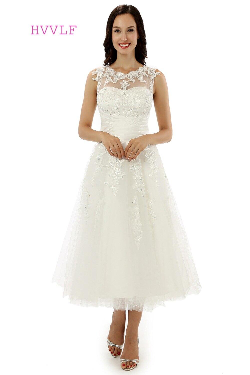 Vestido De Noiva 2019 Short Wedding Dresses A-line Tea Length Appliques Lace Backless Vintage Wedding Gown Bridal Dresses