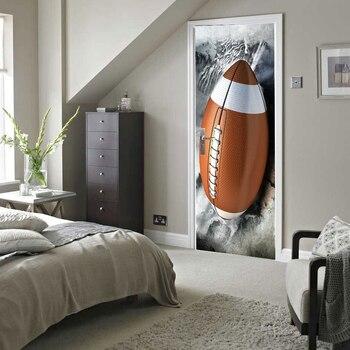 3D American Football Poster PVC Waterproof Entire Door Sticker Creative Stickers Door Wall Sticker DIY Mural Bedroom Home Decor