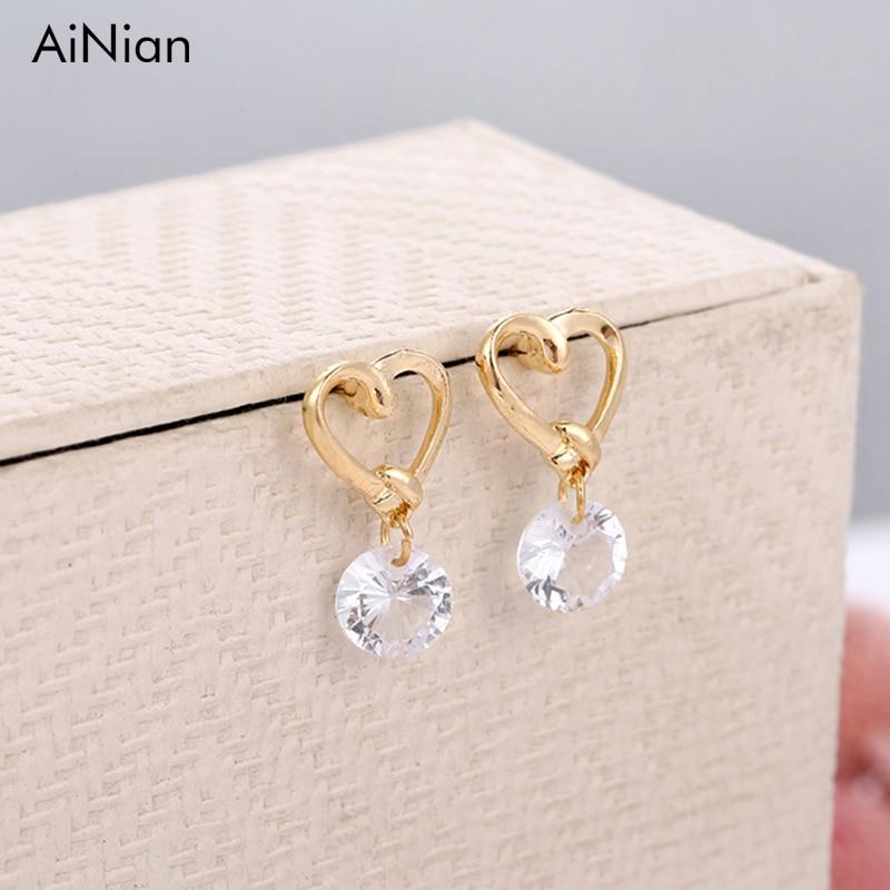 AiNian New Fashion Stud Earrings Jewelry Hot Sale Hollow Love Heart Fine Zircon Earrings For Woman Accessories Best Gift