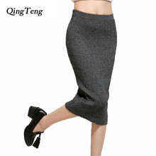 Earlier Spring Style Skirts Women Cashmere Slim 2016 Spring / Winter Skirt Girls Warm Pencil Fashion Mid Calf Clothes