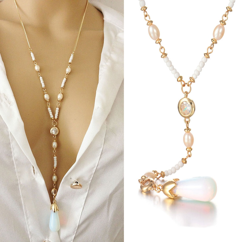 Fashion long Moonstone Pearl Pendant Necklace Chain bone chain women apparel accessories sweater chain wholesale