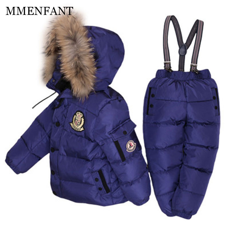 2017 winter Children clothing set Kids Ski suit sets Baby Boy's Outdoor down Jackets matte coats+trousers for Russia -30degree 2016 winter boys ski suit set children s snowsuit for baby girl snow overalls ntural fur down jackets trousers clothing sets