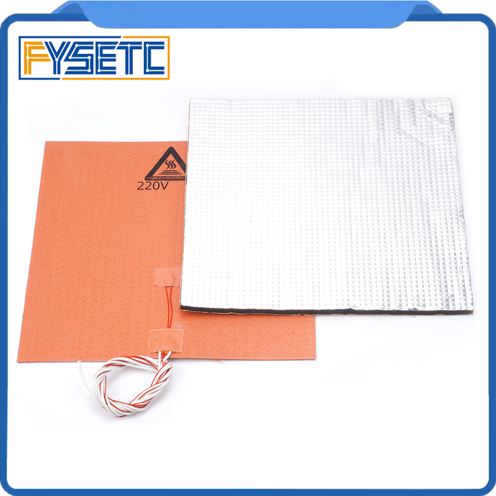220 v 600 w Chauffe Silicone Chauffe Pad 300X300mm + Feuille Auto-adhésif Coton D'isolation thermique 300*300*10mm Pour TEVO Tornade Lulzbot