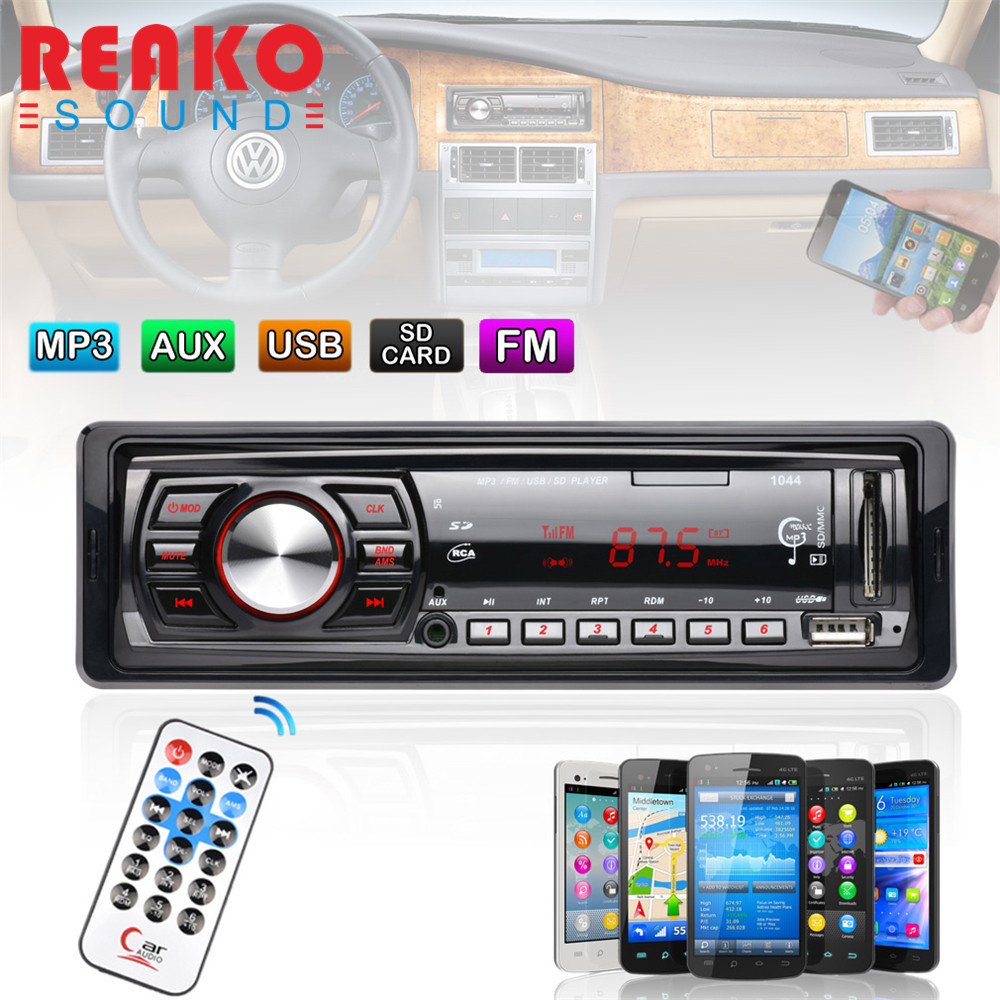 REAKOSOUND In Dash FM Car Input Receiver Stereo 50W x 4 LCD Display SD USB MP3