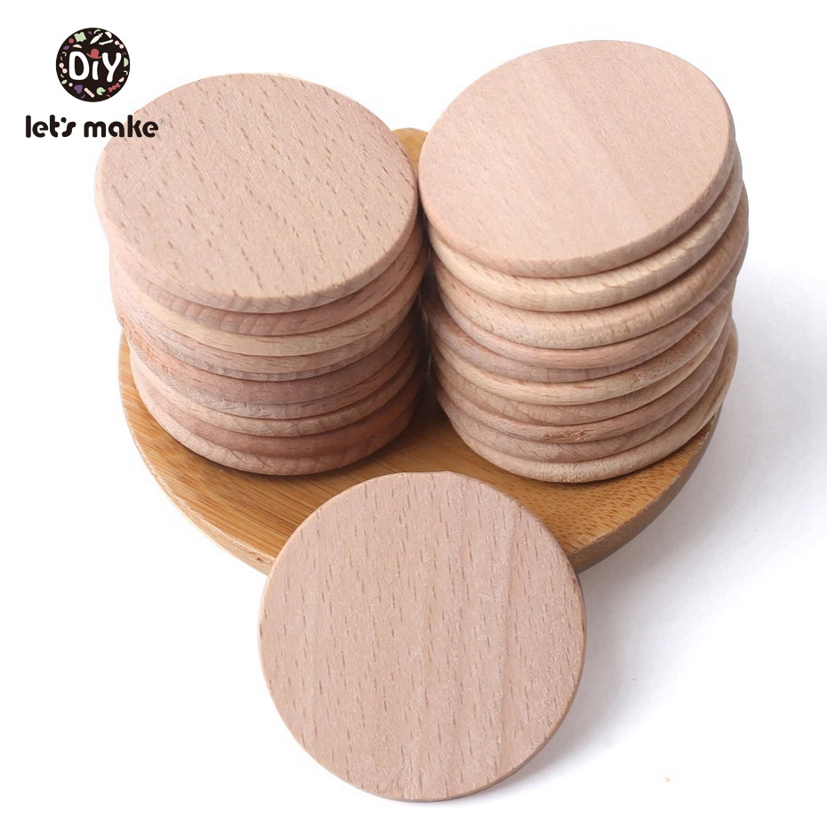 Let's Make Wooden Coins 37mm 20pcs Beech Wooden Discs Flat DIY Bead Jewelry Baby Accessory BPA Free Wood Teether Nursing Pendant