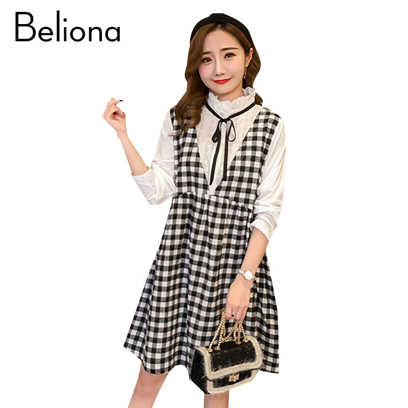 Plaid Maternity Dress Casual Pregnancy Clothes Cotton Fashion Long Sleeve Pregnancy Clothing Of Pregnant Women 2018 Spring