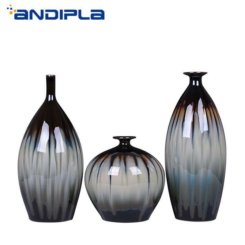 Jingdezhen céramique artisanat classique maison ornements fleur Arrangement conteneur hydroponique Vase Vintage four changement Vases décor