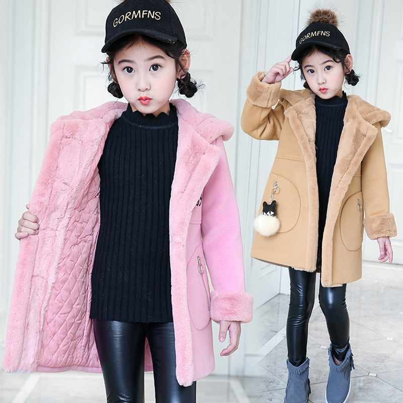 JKP Girls woolen jacket 2018 new girls thicken children