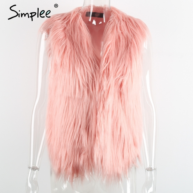 Simplee Faux fur pink women vest Autumn winter sleeveless white outerwear Hairy fluffy casual fashion overcoat 2018 4