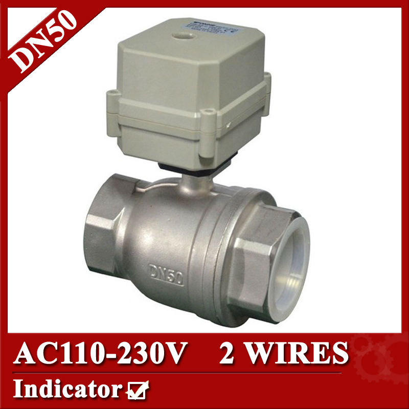 2 inch SS304 Electric valve 2 way, DN50 motorized valve 2 wires, 110V to 230V electric ball valve with normal close/open