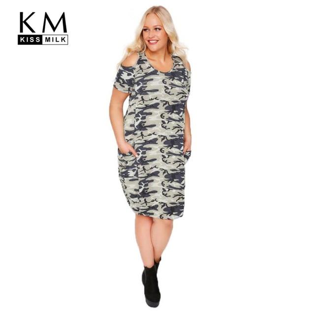 afed3ee0a5304 Kissmilk 2017 Plus Size Women Camo Dress Casual Camouflage Cold Shoulder  Dress Short Sleeve Big Size Dress 3XL - 6XL 3537