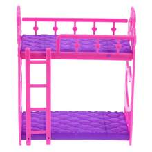 7pcs/Set Cute Hot Pink Dolls House Plastic Bunk Bed Play House kids Toys Assembly Doll Furniture Accessories Toys For Children(China)