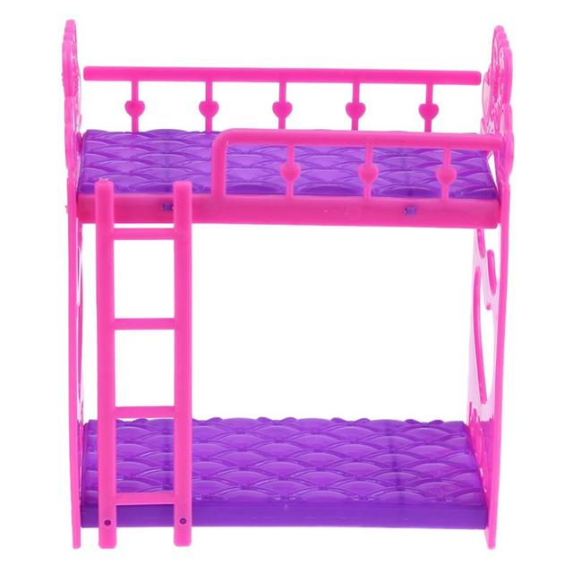 7pcs/Set Cute Hot Pink Dolls House Plastic Bunk Bed Play House kids Toys Assembly Doll Furniture Accessories Toys For Children