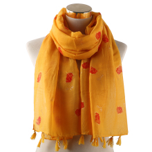 Winfox Yellow White Grey Long Foil Gold Floral Tassel Warp Scarfs Shawl Women Shiny Glitter Scarf Female