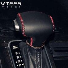 Vtear для Kia Rio 4 X-line рукоятки рычага КПП рукоятки ручного тормоза Обложка интерьер автомобиль-Стайлинг стояночного тормоза ручной сшитые аксессуары