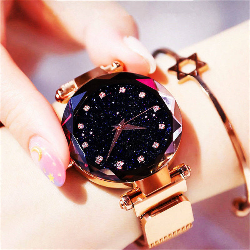 Luxury Gold Women Fashion Blue Quartz Watch Lady Steel Watchband High Quality Casual Waterproof Wristwatch Gift For Wife 2019