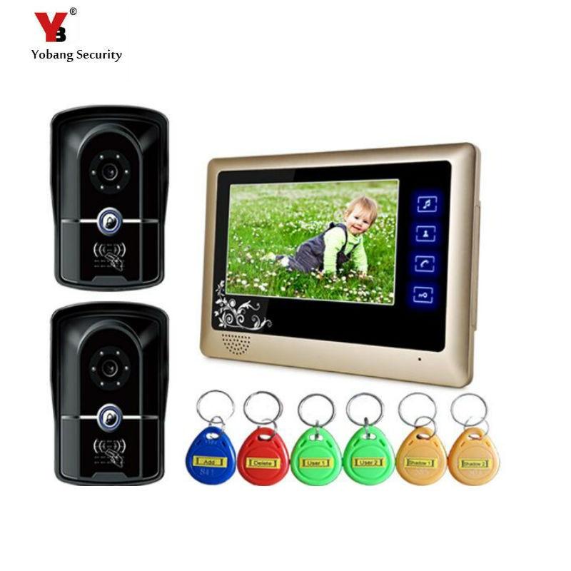 Yobang Security Freeship 7Inch Monitor Doorbell RFID Camera Handfree Video Door Phone Door Video Intercom For Apartment Security