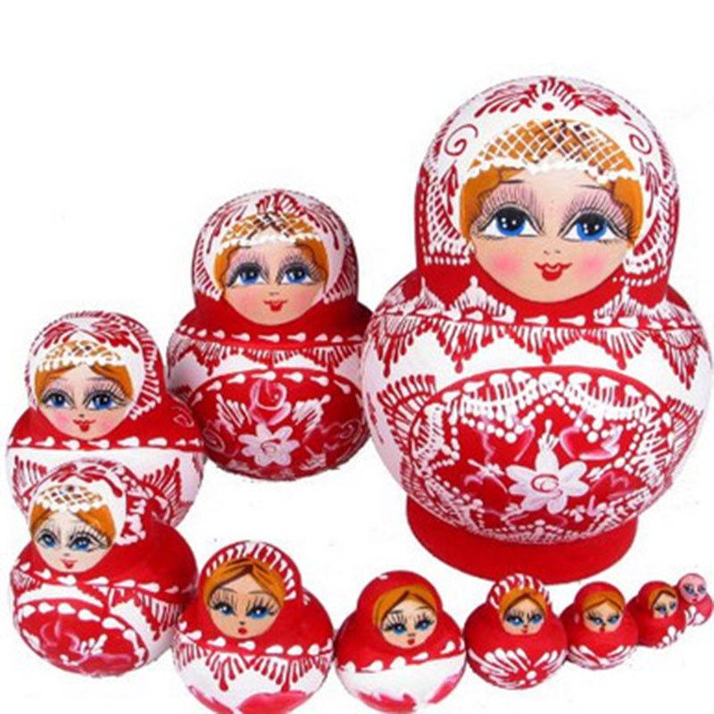 10Pcs Russian Nesting Dolls Wooden Handmade Matryoshka Red Paunch Doll Kids Toys