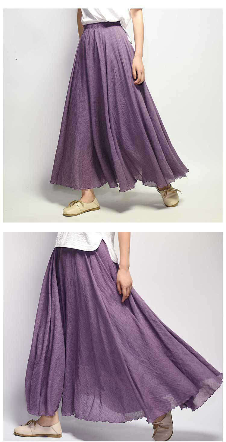 Sherhure 19 Women Linen Cotton Long Skirts Elastic Waist Pleated Maxi Skirts Beach Boho Vintage Summer Skirts Faldas Saia 21