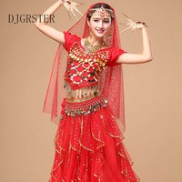 DJGRSTER Costume Bollywood Costume Indian Dress bellydance Dress Womens Belly Dancing Costume Sets Tribal Skirt 5pcs/1set