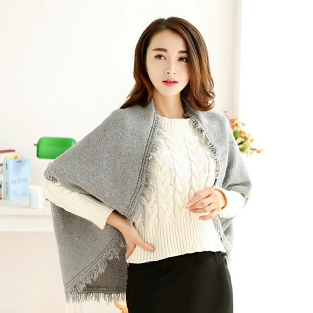 Осень и зима леди стильный удобный чистый цвет Имитация кашемира шаль шарф с бахромой, чтобы согреться шаль шарф