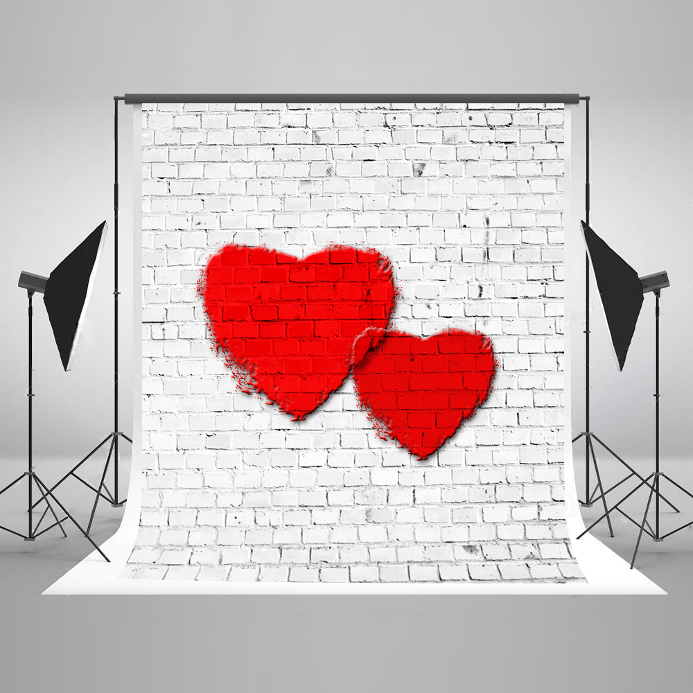 Kate 5x7ft  Valentine'S Day Photography Backdrop White Brick Wall Photo Studio Backdrop Heart Microfiber Photo Shoot Backdrop 8x10ft valentine s day photography pink love heart shape adult portrait backdrop d 7324