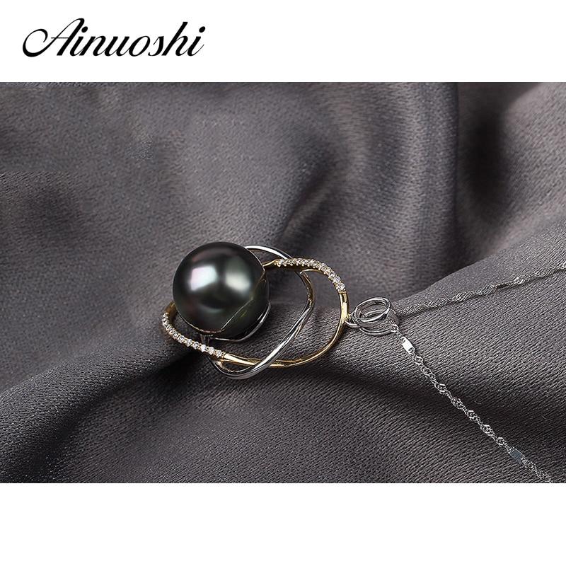 AINUOSHI Mode 925 Sterling Argent Or Jaune Couleur de Fiançailles Collier Pendentifs Tahiti Noir Perle 11mm Perle Ronde Pendentifs - 2