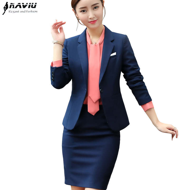 Fashion Skirt suits women clothes Autumn Winter Business interview formal blazer and skirt office ladies plus