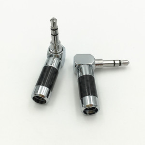 """Image 4 - 10Pcs Carbon Fiber Body Rhodium Plated 1/8"""" 3.5mm 3 Pole Right Angle L Stereo Male Plug Audio Jack Connector"""