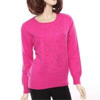 100% козья кашемир Oneck женские вязаные Модный пуловер свитер с бриллиантами розовый 3 вида цветов S 2XL