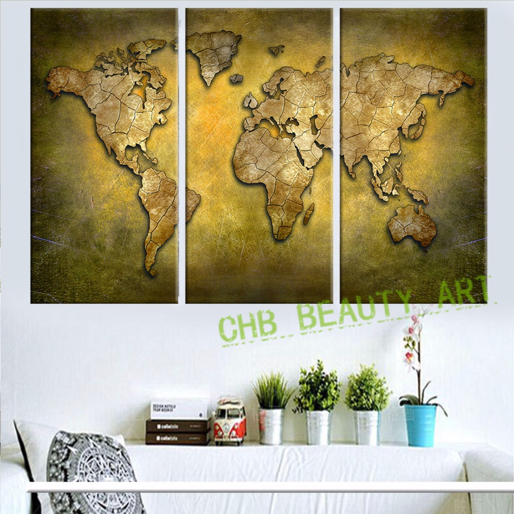 3 panels gold world map canvas art wall pictures for living room 3 panels gold world map canvas art wall pictures for living room morden painting art canvas print decoration picture unframed in painting calligraphy from gumiabroncs Gallery