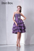 Real Photos Purple Sweetheart Knee Length Taffeta Prom Dresses Beaded Pleats Ruffles A Line Short Party Gowns