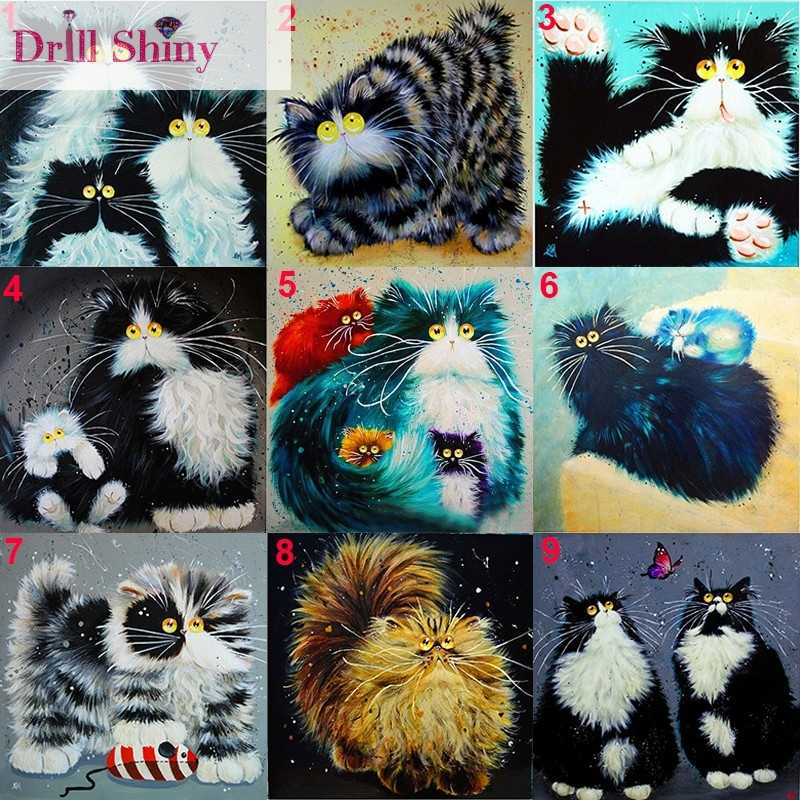 New Fashion 5D DIY Diamond Embroidery Cute Animal Cat Painting Mosaic Square Rhinestone Cross Stitch Home Decro