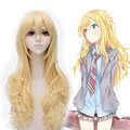 Free Shipping 65cm Medium Long Wave Blonde Your Lie in April Miyazono Kaori Wig Synthetic Anime Cosplay Wigs