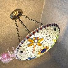 Тиффани 40 СМ Европейский пастырской Средиземноморской МОЗАИКА кабинет теплый цвет висит Подвесные Светильники спальня гостиная лампы