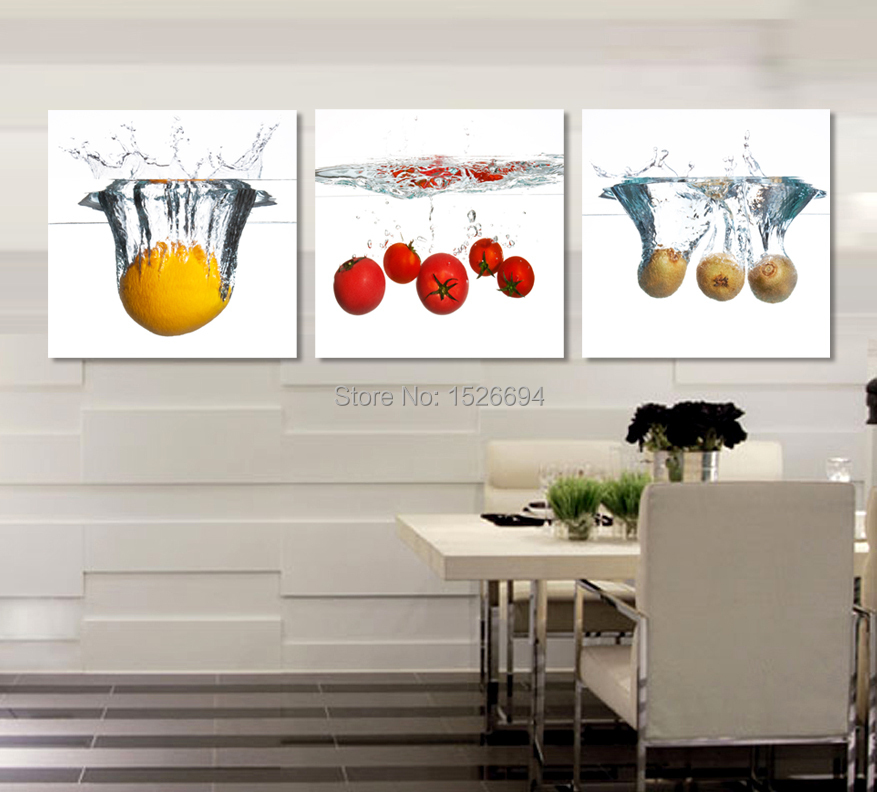 New 3 piece art print wall art painting pictures print on for Canvas dining