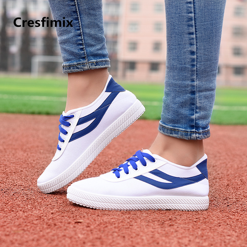 Cresfimix women fashion comfortable striped canvas flat shoes lady cute lace up round toe flats female cool spring shoes a465 2018 new canvas shoes spring summer women shoes genuine leather canvas shoes female round toe flat shoes lace up female canvas s
