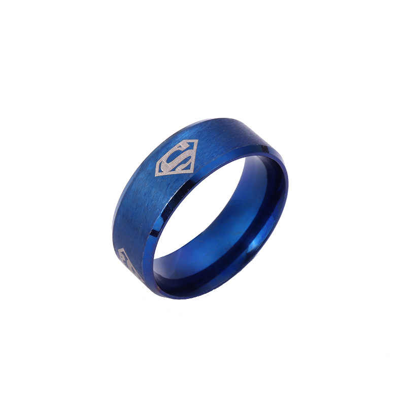 Hot Sale Superman Hero 5 Colors 316L Stainless Steel Finger Rings 8 Mm for Sport Dad Men Boy Gift Jewelry