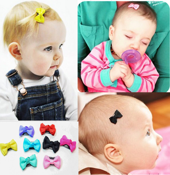 ad4b10670f75 5 Pcs lot Candy color Baby Mini Small Bow Hair Clips Safety Hair pins  barrettes
