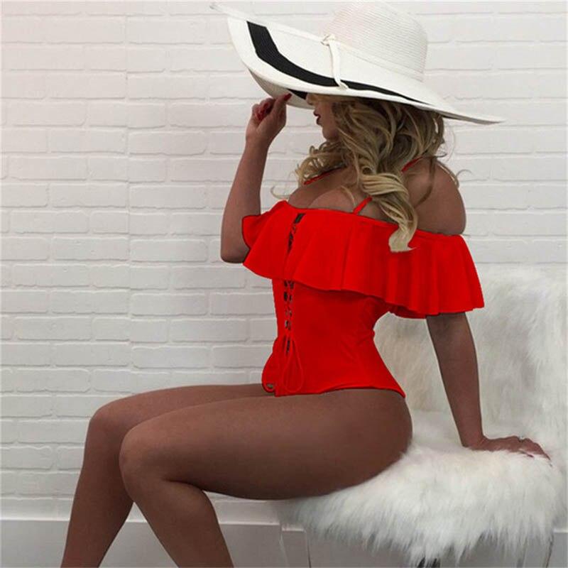 2018 Sexy Solid One Piece Swimsuit Ruffle Swimwear Women Swimsuit Push Up Bathing Suits Swimsuit Suit For Women BeachWear