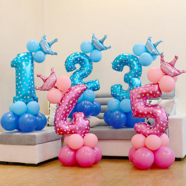 Baby Shower Kids Birthday Balloon Blue Pink Number Foil 0 1 2 3 4 5 6 7 8 9 Years Happy Party Decorations M67C
