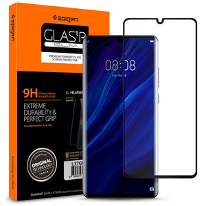 SPIGEN Tempered-Glass Screen-Protector Glas.tr Huawei P30 Full-Cover Black 100%Original