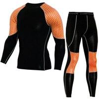 Professional Compression Sport Suit Nylon Elastic 2 Pcs Brand Men S T Shirt Leggings Workout Gym
