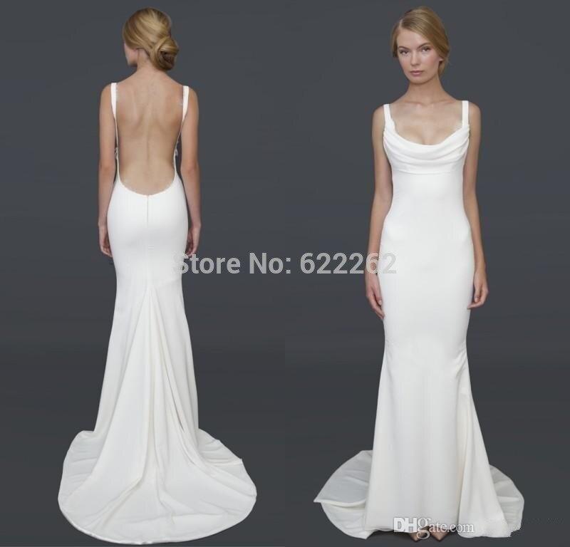 big discount mermaid spaghetti straps backless wedding dress court train white satin sexy design popular bridal
