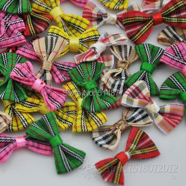 60pcs font b tartan b font plaid Gingham Ribbon Bows Flower Appliques Lots Upick B234